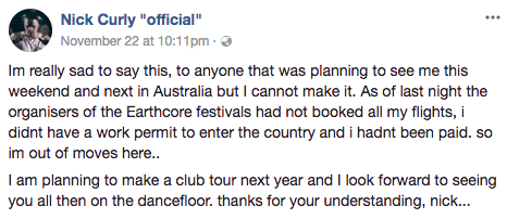 Earthcore Sydney Cancelled As More Acts Pull Out Over Claims They Weren't Paid